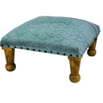 Square Seagreen and Grey Low Footstool