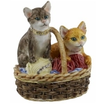 Two Cats in Basket with Wool Trinket Box