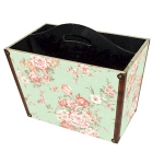 Wooden Magazine Rack in Green Floral Design