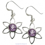 Flower Design Amethyst Earrings