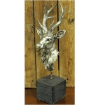Antique Silver Stag Head on Base Ornament