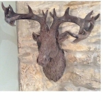 Antique Stone Stag Head Wall Decoration