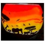 Benaya African Animals Sunset Tealight Holder
