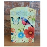 Bird and Flowers Rectangular Wooden Key Box