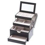 Black Four Level Lockable Auto Tray Jewellery Box