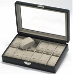 Black Lockable Twelve Watch Box