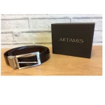 Black and Brown Leather Reversible Belt with Nickle Satin Buckle