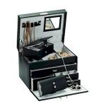 Black Bonded Leather Duchess Jewellery Box
