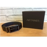 Black & Navy Leather Reversible Belt with Gunmetal Buckle