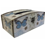 Blue Butterflies and White Daisies Wooden Tissue Box