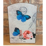 Blue Butterflies Rectangular Wooden Key Box