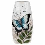 Blue Butterfly Tall Flat Vase
