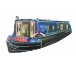 Blue Canal Boat Barge Clock