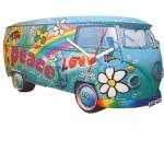 Blue Peace Camper Van Clock