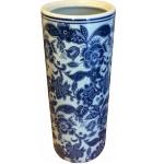 Blue and White Flowers Ceramic Umbrella Stand