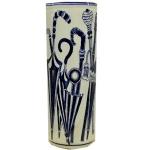 Blue and White Parasols Ceramic Umbrella Stand