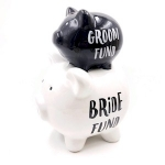 Bride and Groom Double Stacked Piggy Bank