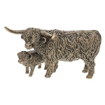 Bronze Highland Cow and Wee Calf Ornament