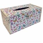 Butterflies Sparkle Wooden Tissue Box