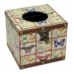 Butterflies and Birds Square Wooden Tissue Box