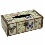Butterflies and Birds Rectangular Wooden Tissue Box