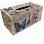 Butterfly and Floral Wooden Tissue Box