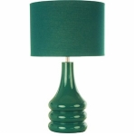 Village at Home Ceramic Teal Round Table Lamp