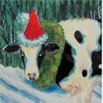 Christmas Cow Square Tile