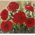 Classic Poppies Square Tile