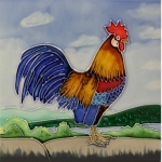 Cockerel Square Tile