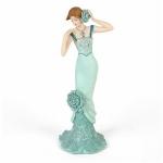 Constance Aqua Blue Vintage Rose Standing Figurine
