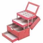 Coral Pink Four Level Lockable Auto Tray Jewellery Box