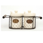 County Kitchen Cream Ceramic Jam and Honey Set in a Wire Basket