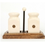 County Kitchen Cream Ceramic Salt and Pepper Set on Wooden Stand
