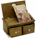 County Kitchen Rustic Wooden Recipe Box with Integrated Cookbook
