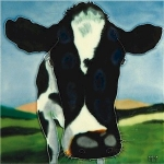 Cow Taking a Closer Look Square Tile