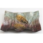 Decorative Rectangular Glass Autumn Tree Plate