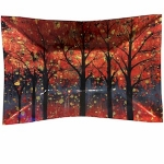 Decorative Rectangular Glass Red Trees Plate