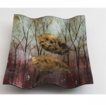 Decorative Square Glass Autumn Tree Plate