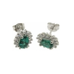 Emerald Oval Earrings with Cubic Zirconias