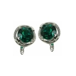 Emerald Round Earrings with Cubic Zirconias