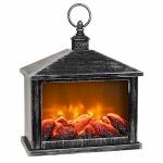 Eternal Fire LED Black and Silver Rectangular  Battery Lantern