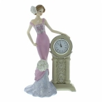Eveline Pink Vintage Rose Standing Figurine with Clock