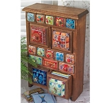 Fairtrade Mango Wood 17 Drawer Floorstanding Storage Chest