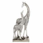 Filigree Silver Mother and Baby Giraffe Ornament
