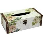 Floral Rectangular Wooden Tissue Box