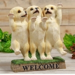 Golden Labrador Puppies Welcome Ornament