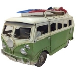 Green Campervan Metal Model with Surfboards