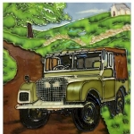 Green Land Rover Square Tile