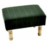 Dark Green Tweed Rectangular Footstool